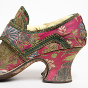 Pair of bizarre silk shoes, English or French, ca. 1720– the silk Italian or French, ca. 1700–20