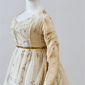 Round gown of silver muslin, American, ca. 1795–1800
