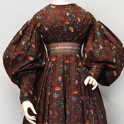 Printed cotton day dress, American, ca. 1833