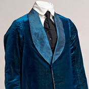 Silk velvet smoking suit, French or English, ca. 1870