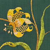 Embroidered Green Silk Panel